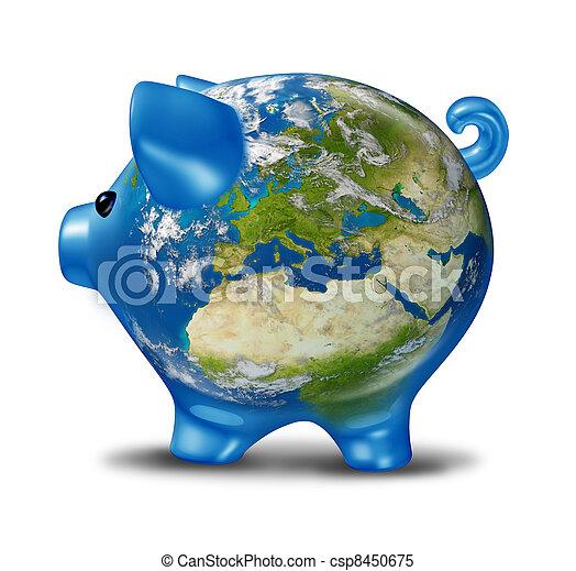 Europe Economic Crisis as World Map Piggy Bank - csp8450675