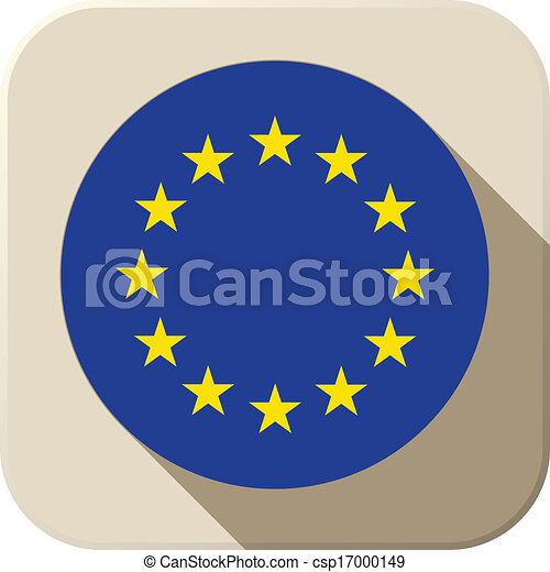 Europe Flag Button Icon Modern - csp17000149