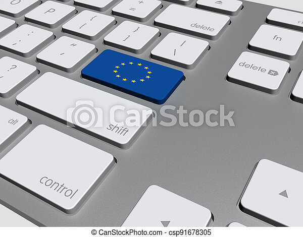 Europe flag button on the keyboard - csp91678305
