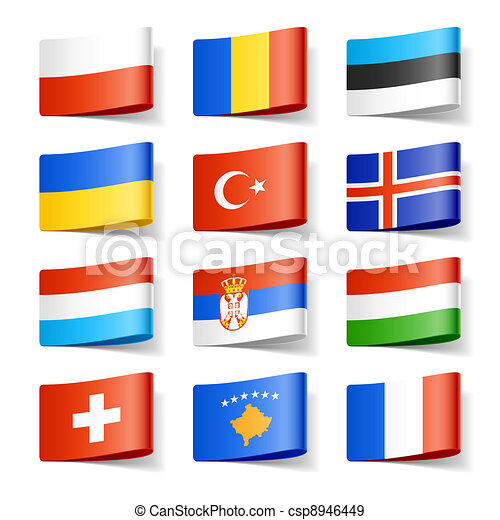 europe., flags., κόσμοs  - csp8946449