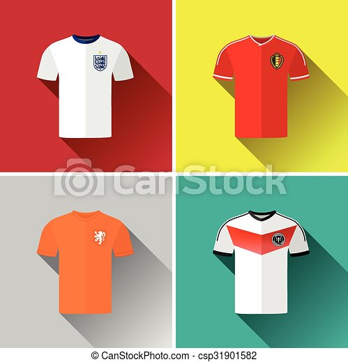 9b35cecb5a4 Europe jerseys flat icons 2.eps. Set of vector graphic flat icon ...