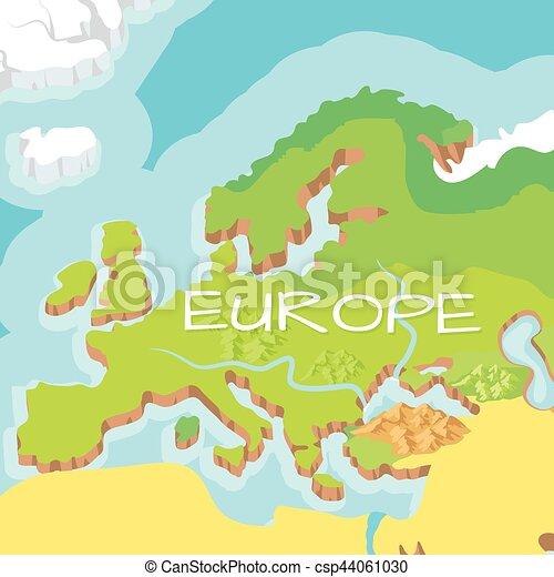 europe mainland vector cartoon relief map