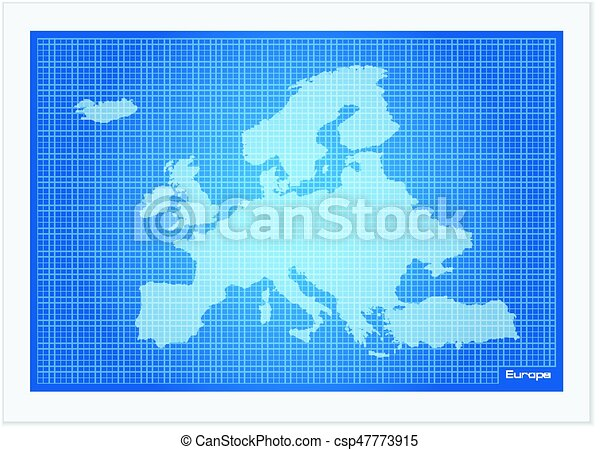 Europe map on blueprint on a white background vector clip art europe map on blueprint csp47773915 malvernweather Gallery