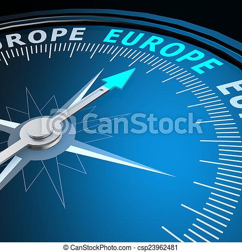 europe, mot, compas - csp23962481