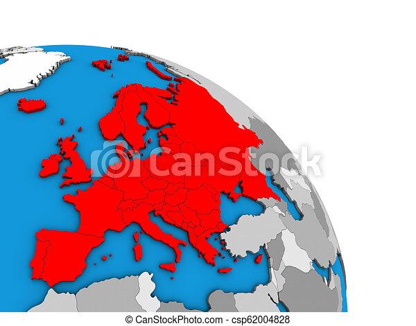 Europe on 3D globe - csp62004828
