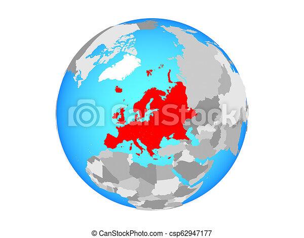 Europe on globe isolated - csp62947177