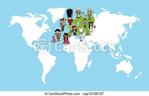 Europe people cartoons world map diversity illustration diversity europe people cartoons world map diversity illustration gumiabroncs Images