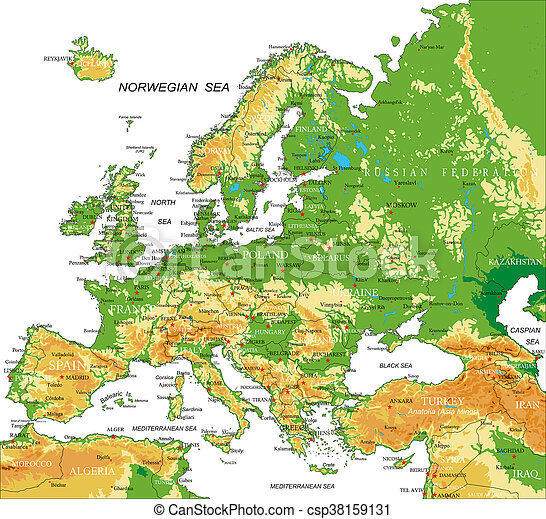 europe physical map csp38159131