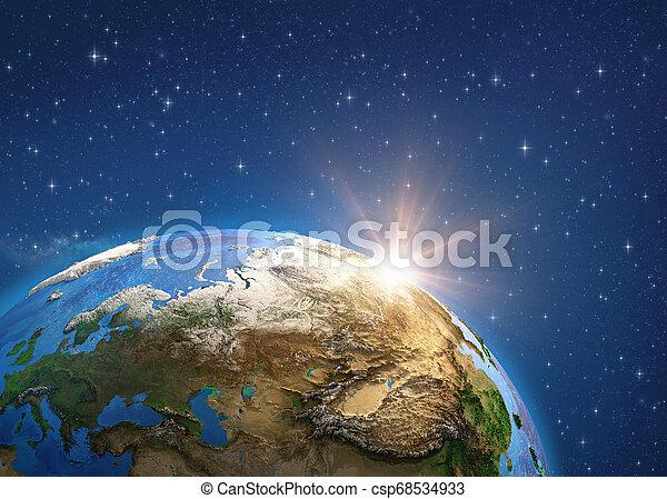 europe, sunrise., space., planète, asie, la terre - csp68534933