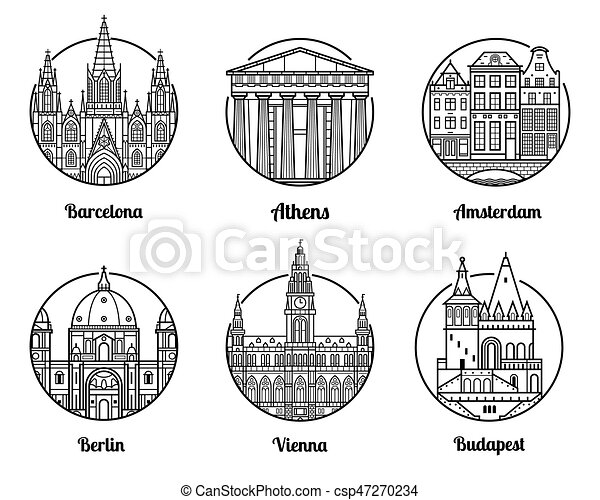 Europe Travel Destinations Main Cities Icons Including
