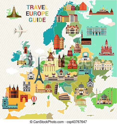 map of europe travel guide Europe travel map. Europe map with famous sightseeing. travel