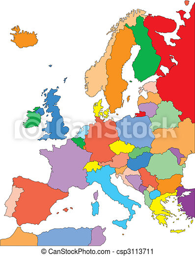 Europe with Editable Countries - csp3113711