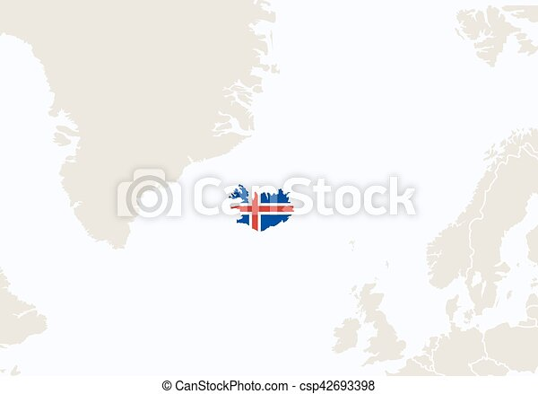 Europe with highlighted iceland map. vector illustration.