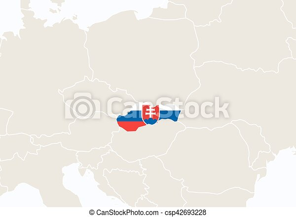 Europe With Highlighted Slovakia Map Vector Illustration
