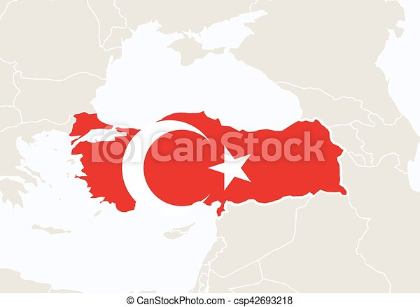 Europe with highlighted turkey map. vector illustration.