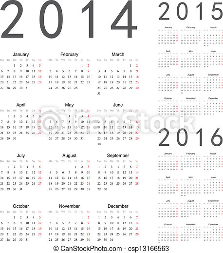 European 2014, 2015, 2016 year vector calendars - csp13166563