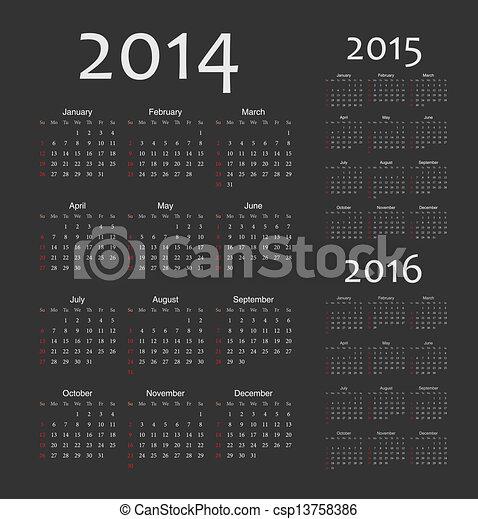 European 2014, 2015, 2016 year vector calendars - csp13758386
