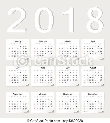 european 2018 calendar csp43692928