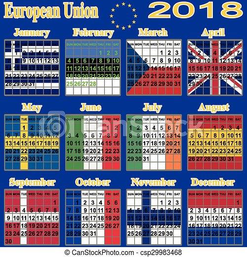 European Calendar Of  Calendar Event Personal  Clip Art