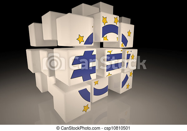 European Central Bank symbol in chaotic cubes - csp10810501