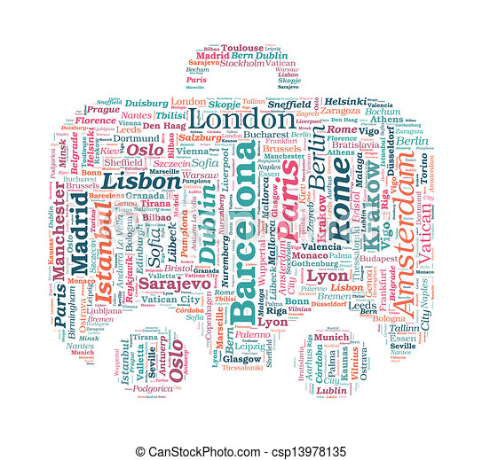 European Cities Bag Shaped Vector Word Cloud On White Background