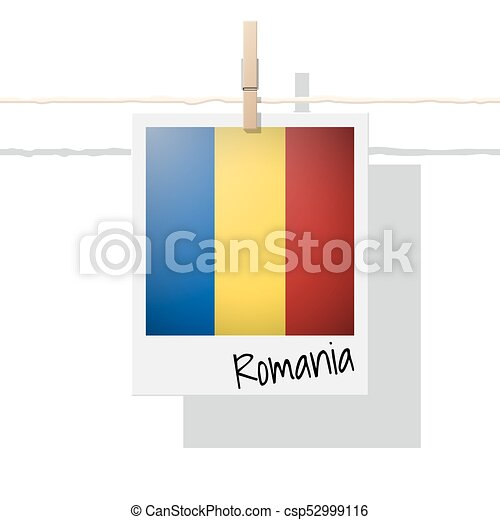 European country flag collection with photo of Romania flag - csp52999116