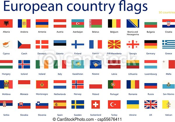 vector illustration set of european country flags with names 50