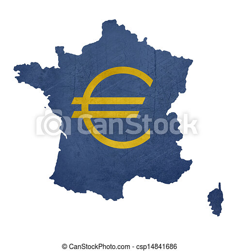 European Currency Symbol On Map Of France Isolated On White Background