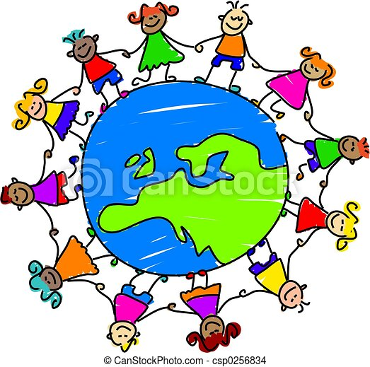 European kids. Kids holding hands around the globe showing map of ...