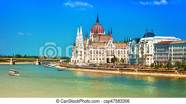 European landmarks - view of Parliament in Budapest, Hungary - csp47583306