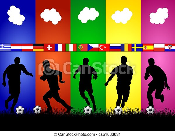 european soccer silhouettes background - csp1883831