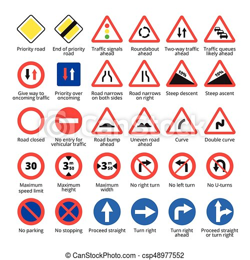 Road Signs And Their Meanings >> European traffic signs. vector road icons collection. European traffic signs set. vector road ...