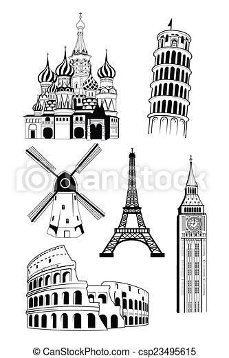European Travel Destinations In Ink Style