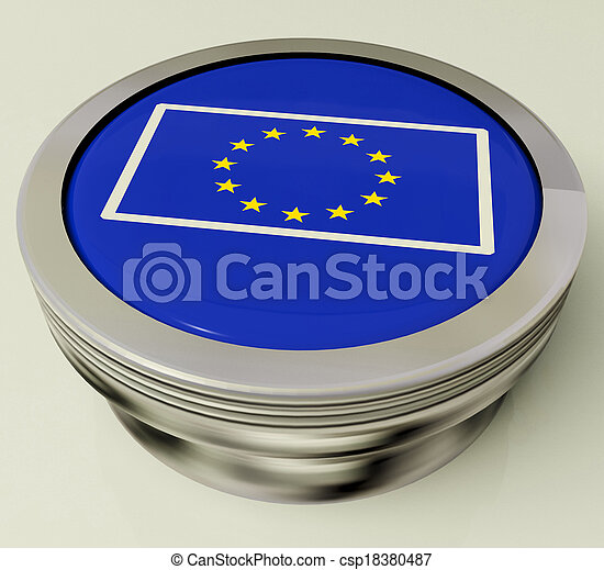 European Union Flag Button Shows Government Of Europe - csp18380487