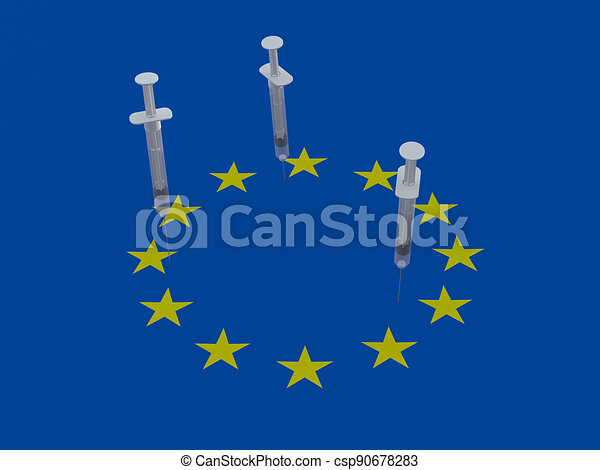 European Union flag with three syringe - csp90678283