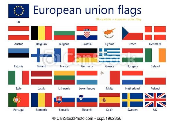European Union Flags Vector Illustration Set Of European Union