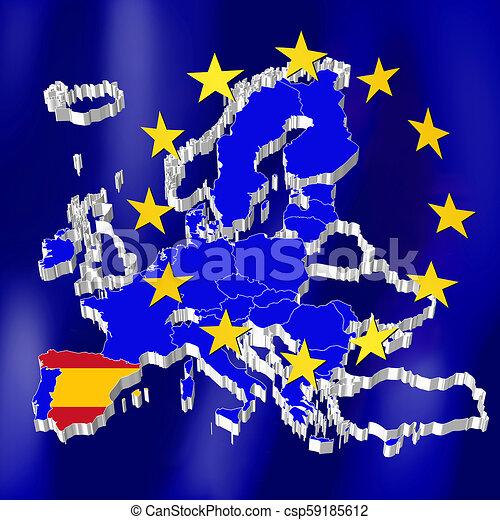 European union map - spain.