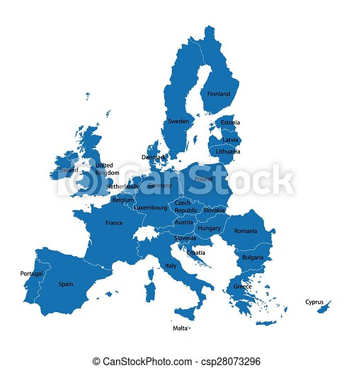 European Union map with names of all member countries - csp28073296