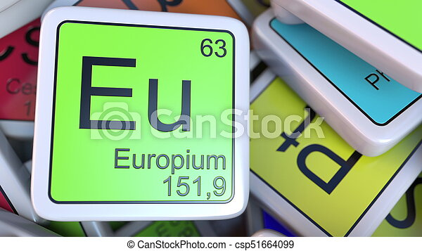 Europium Eu Block On The Pile Of Periodic Table Of The Chemical