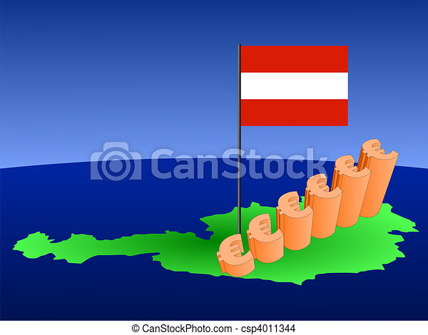 euros graph on Austria map - csp4011344