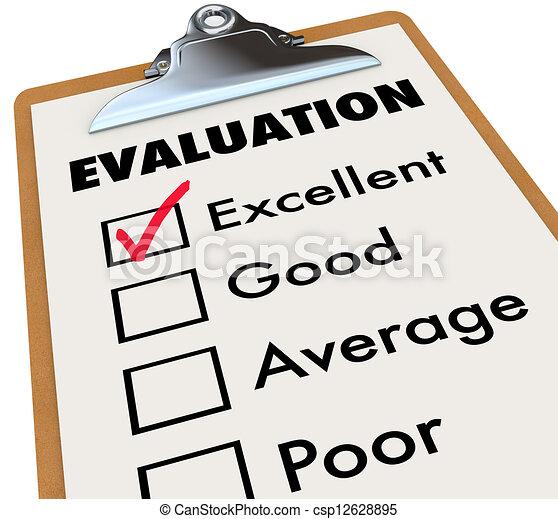 Evaluation Report Card Clipboard Assessment Grades - csp12628895
