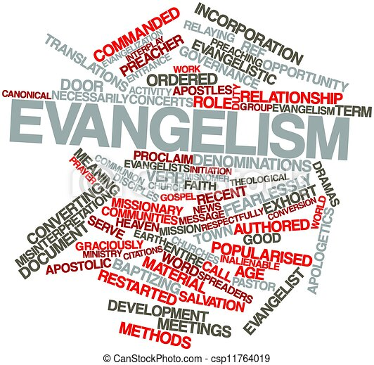 Abstract Word Cloud For Evangelism With Related Tags And