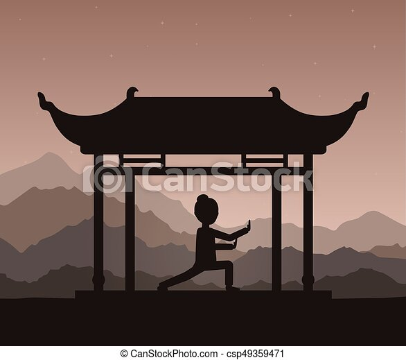 evening., εκτέλεση , ή , taijiquan , ασκήσεις , κορίτσι , qigong - csp49359471