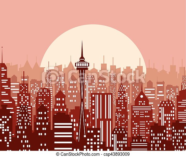 Evening cityscape vector illustration. - csp43893009