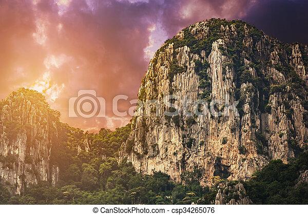 evening cliff - csp34265076