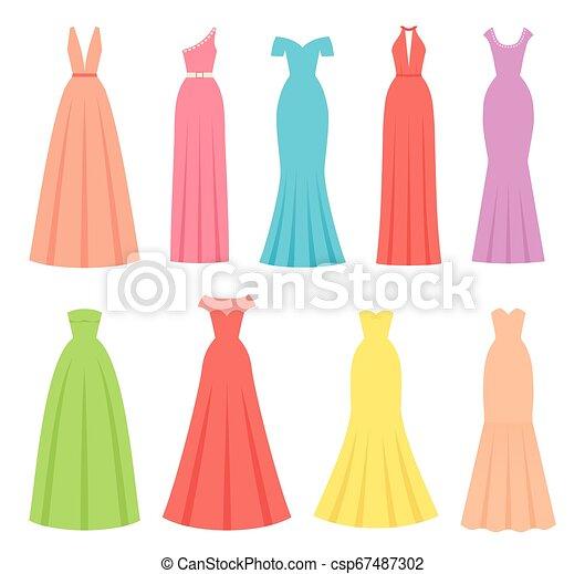 Evening dresses for women. Vector illustration. Female textile, flat design. - csp67487302