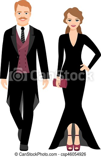Evening fashion couple in black clothes - csp46054926