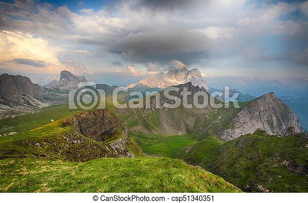 Evening Glow over Mt. Pelmo and Mt. Civetta, Dolomites, Italy