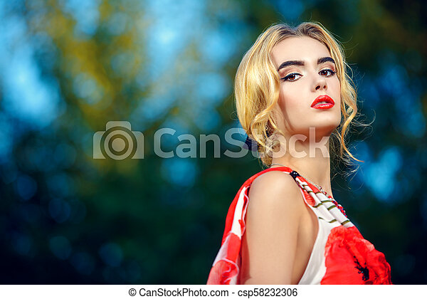 evening makeup and hairstyle - csp58232306
