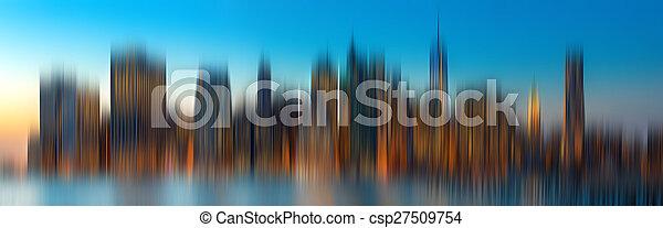 Evening New York City skyline panorama - csp27509754